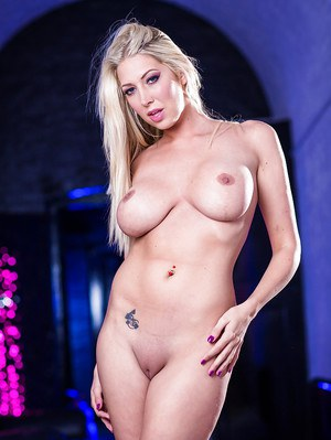 Gorgeous blonde with huge breasts Lexi Lowe removes black bikini and shows ass
