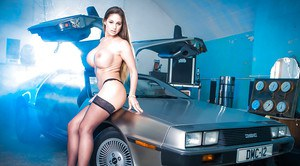 European MILF in stockings Cathy Heaven shakes her ass cheeks over Delorean