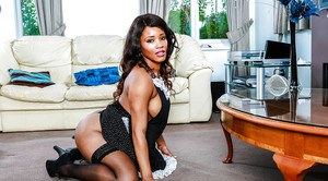 Ebony maid in stockings Kiki Minaj undresses and takes different positions
