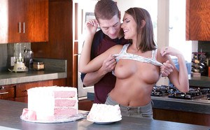 Busty teen pornstar August Ames riding cock on kitchen counter top