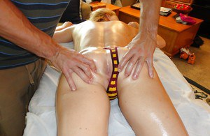 Hot blonde Krissy Lynn comes for ass massage but gets pounded instead