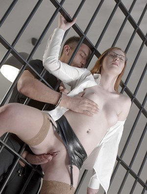 Bespectacled European babe Linda Sweet gets ass fucked in jail