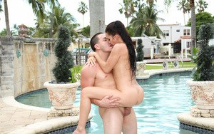 Tasteful brunette Crystal Rae has sensitive pussy banging over the pool