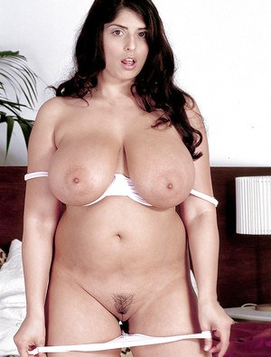 fat heavy tits - ... Fat pornstar Kerry Marie releasing heavy tits and bush from bra and  panty set ...