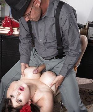 Thick retro garbed slut May West dripping jizz from mouth after face fucking