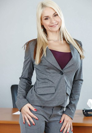 Hot blonde teacher Sarah Vandella stripping naked on office desk