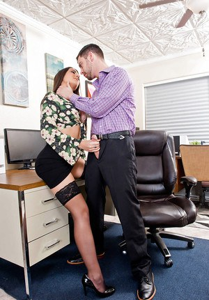 Stocking attired secretary Lily Adams seducing boss for quickie sex on desk