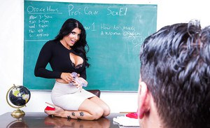 Dark haired teacher Romi Rain fucking her student after giving ball licking BJ