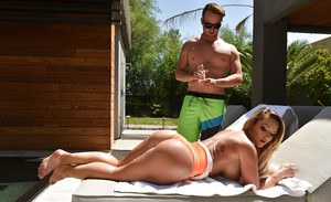 Blonde bombshell Cali Carter removing bathing suit for oiling and banging