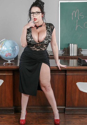Amazing scenes of solo nudity in class with busty teacher Sheridan Love