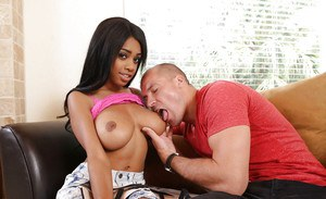 Ebony teen Brittney White shows off naked and working with cock in the mouth