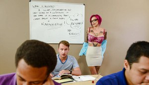 Gorgeous MILF teacher Anna Bell Peaks shaking student's huge cock in class