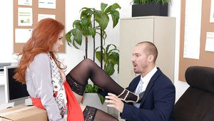 Redhead secretary Lennox Luxe fucking large cock at work in stockings