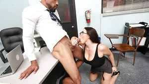 Nerdy teaching assistant Angela White and co-worker fuck up storm on desk
