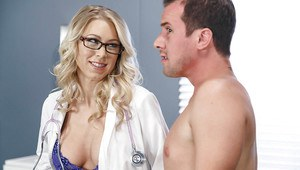 Naughty nurse Katie Morgan fucking patient with large cock on exam table