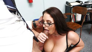 Glasses wearing teacher Angela White sucking off her black so-worker in office