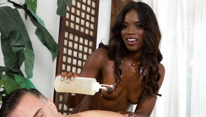 Black masseuse Ana Foxxx jerking and licking dick for happy ending finale