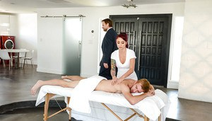 MILF masseuse Monique Alexander caught sucking off large cock by husband