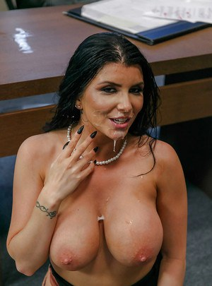 Dark haired principal Romi Rain sucking off male student in her office