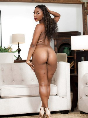 Ebony beauty with curly hair Chanell Heart, nude and horny in solo