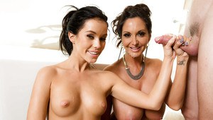 Brunette MILF with huge tits Ava Addams shares cock with younger Megan Rain