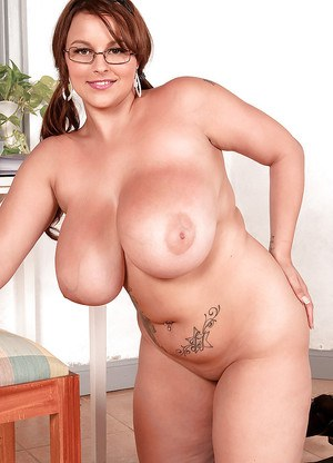 Overweight solo girl Terri Jane unveiling massive hangers in glasses