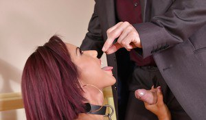Collared slave Rose Valerie sucking her Masters dick and eating sperm