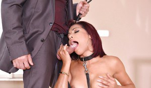 Sexy sex slave Rose Valerie led on hands and knees by leash before anal sex