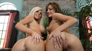 Hot females Kenzi and Nika strip off bra and panty sets to model naked