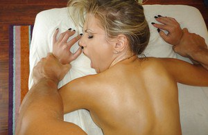 Oiled beauty Aubrey Addams penetrated by masseur during massage