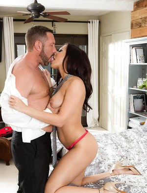 Brunette MILF Rachel Starr fucks in various poses gets cum on her fake tits