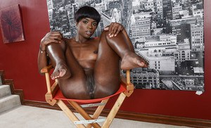 Young ebony babe Ana Foxxx sensual nudity combined with foot fetish