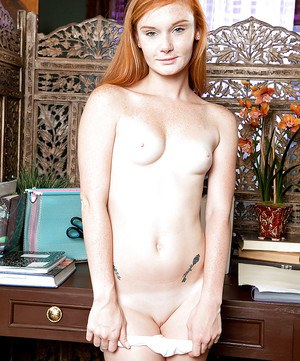 Barely legal redhead Alex Tanner strips off schoolgirl clothes to masturbate