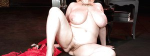 Gorgeous fatty Samantha 38G takes off her fancy red dress to reveal fat pussy