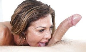 Older lady Nina Dolci giving large dick a messy ball sac sucking blowjob