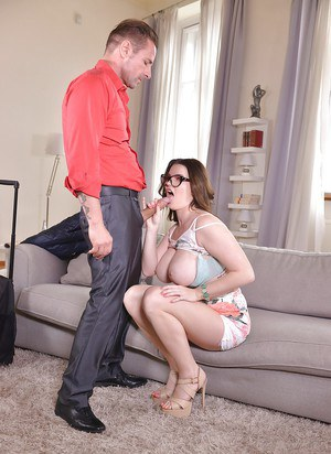 Nerdy Euro female Tasha Holz tit fucking and blowing cock in glasses