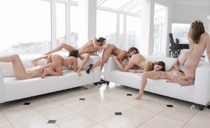 Naked girls are instructed in pussy eating during all girl orgy