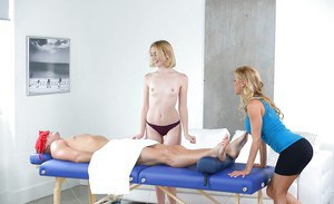 Blonde sluts Alexis Fawx and Chloe Couture sharing the wood during massage