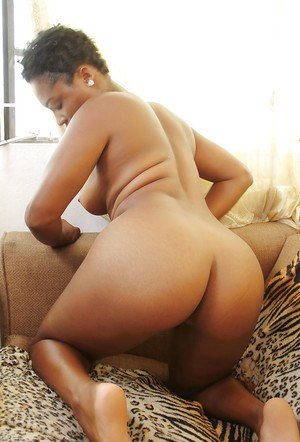 Amateur ebony chick Lulu spreads to pose her shaved pussy and ass