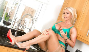 Gorgeous Lucy Zara removes her green lingerie to play solo