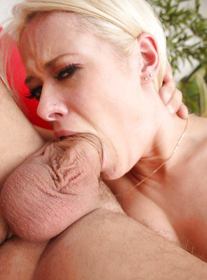 Blonde MILF Rebecca Blue deepthroating large cock after ball gag removal