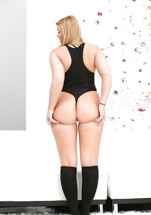 Chubby blonde teen Melissa May showing off sexy ass in black knee socks