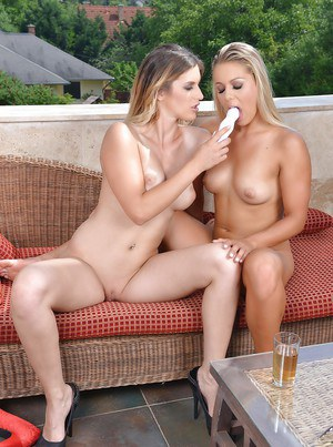 Euro lezzies Christen Courtney and Mira Sunset insert sex toys into assholes