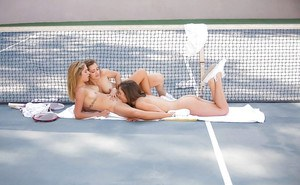 3 female tennis players undress each other pussy licking on court