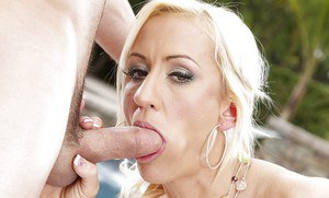 Mature pornstar Zoey Portland getting fucked by younger stud by swimming pool