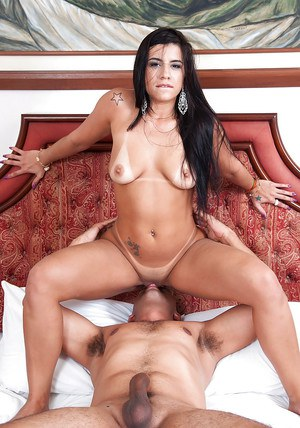Dark haired Latina Aline Rios taking jizz blast on ass after having sex