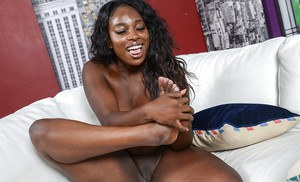 Ebony first timer Black Dahlia demonstrating pink cunt after removing pretties