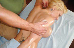 Busty blonde female Mariah Madysinn massaged and banged by masseuse