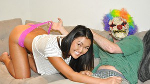 Amateur Asian girl Amy Parks getting fucked and jizzed on by man in clown mask
