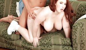 Fat babe with huge boobs Felicia Clover roughly pumped by guy's huge cock
